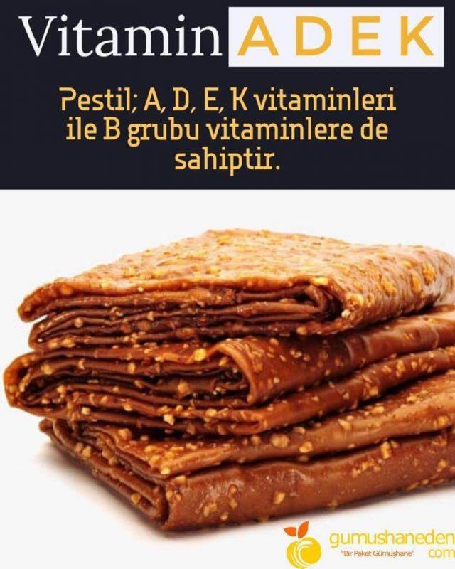 Pestilin A, D, E ,K vitaminlerini içerir.